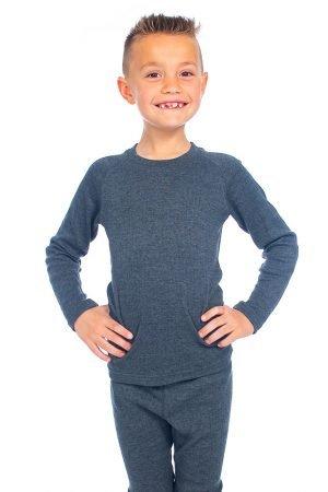 Thermo kindershirt met lange mouwen grijs